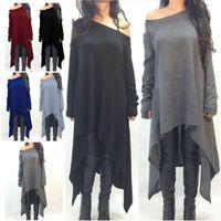 Wholesale Wholesale Tunics Women - 9 Colors Fashion Women Grey black Long Sleeve Irregular Hem Cotton Slim Fit Tunic Dress Tops Shirts Long Blouse