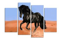 Wholesale Horse Art Canvas Set - Free shipping black horse painting Wall Art Printed On Canvas Wall Pictures For Living Room 4 pcs set Printed Painting