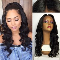 Wholesale best lace natural hairline wigs resale online - Swiss Lace Best quality Glueless Full Lace Wigs natural hairline Human hair Wavy middle part Lace Front Wigs