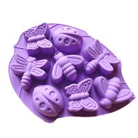Wholesale Dragonflies Silicone Mold - 2 PCS Insect Silicone Cake Chocolate Mold Pan-Lady Bugs Butterflies Bees and Dragonflies Random Color Free Shipping