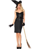 Wholesale Adult Witches Halloween Costume - Wholesale-Sexy Mistress of Darkness Gothic Witch Costume Women Carnival Adult Cosplay Party Halloween Costumes for Women Black Fancy Dress