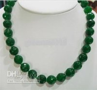 """Wholesale Faceted Emerald Beads - New Fine women Jewelry 12mm Natural Emerald Faceted Beads Necklace 18"""" 925 silver"""
