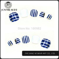 Wholesale Toe Nail Art Accessories - Fashion Seasons white and blue navy style false toe nail tips shiny acrylic nail art decals decoration accessories