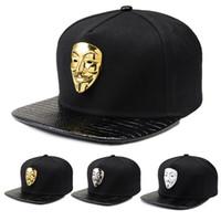 Wholesale vendetta gold - C4 Hip Hop Snapback Caps V For Vendetta Baseball Caps Black Hats Flat Brim Street Bboy Rapper Dancer MC DJ Skate Gorras
