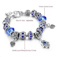 Wholesale Blue Agate Bangle - 2016 Hamsa Charms Bracelets For Women Blue Crystal Murano Beads Evil Eye Bracelets & Bangles Sapphire-Jewelry Pulseras SBR150269