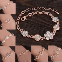 Wholesale Stylish Jewelry For Women - Wholesale-Stylish Women New Fashion Gold Plated CZ Crystal Rhinestone Flower Charm Bracelet For Women Bangle Gift Jewelry