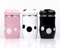 Wholesale Korean Mushroom Cartoon - Cartoon student baby mushroom insulation cup female portable cute Korean mini baby belly cup black white pink water bottle 270ml