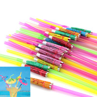 Wholesale Drink Umbrellas - 100pcs  Pack Disposable Novelty Mixed Multicolor Hawaiian Cocktail Creative Umbrella Design Drinking Juice Straw Party Accessories