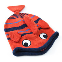 Wholesale Fish Beanies - Wholesale 2016 Red Cute Baby Fish Hat Cotton Cartoon Crochet Baby Beanies Kids Fall Winter Baby Cap Handmade Knit Windproof Earmuffs Cap