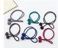 Wholesale Hair Circle Rubber Bands Rope - New mix color hair rubber bands hair jelwery circle ball tie knot hair bands girl's hair elastic pure hand knotted rope bow hair bands 8cm