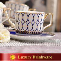 mavi beyaz çin toptan satış-Porselen kahve fincanı ve tabağı süper beyaz kemik çini mavi yuvarlak tasarım kahve kupası seti bir fincan bir tabak yeni ürün