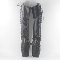 """Wholesale Thigh Ballet - Wonderheel new extreme high heel 7"""" wedges heel ballet thigh high boot sexy high heels lace up matte leather over the knee boots"""