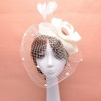 Wholesale Vintage Tulle Hat - Vintage Feathers Bridal Fascinator Face Veils Bride Tulle Birdcage Fascinator Wedding Hats Bridal Face Veils Bridal Hair Accessories