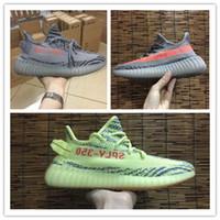 Wholesale Green Stripes - 2017 Kanye West Boost 350 V2 Beluga 2.0 Semi Frozen Yebra Cream White Copper Zebra Mens Women Running Shoes Grey Orange Stripes Casual shoes