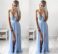 Wholesale Long Baby Blue Prom Dresses - Sexy Deep V-neck Baby Blue Prom Dresses 2017 Chiffon Spaghetti Straps V Neck Side Split Evening Gowns Cheap Maxi Bridesmaid Party Dresses