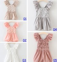 Wholesale Christmas Style Leggings - 2016 New Summer Hug Me Baby Girls One-Pieces Lace Romper Rose Floral Cotton Romper Sling Leggings 5color choose free fedex dhl ship