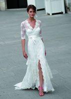 Wholesale Mermaid Wedding Gowns Slit - Vintage Slits Skirts Wedding Gowns Mermaid Dress 2016 V Neckline Half Sleeves Lace Appliques Bridal Gowns Ruffles Train Wedding Dresses