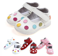 Wholesale Wholesale Shoes For Little Girls - New Toddler Little Kids Handmade Casual Shoes for Girls Patent Genuine Leather Colorful Polkdot Design Hook&loop Anti-slip Anti-friction