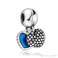 Wholesale Enamelled Heart Charms - Fashion Mother & Son Dangle Charm 925 Sterling Silver European Floating Charms Bead With Blue Enamel Fit Pandora Bracelet DIY Jewelry