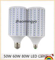 led spot kolye lambası toptan satış-YON Süper Parlak 50W 60W 80W LED Lamba E27 B22 E40 E26 110V / 220V Lampada Mısır Ampüller kolye Aydınlatma Avize Tavan Spot ışık