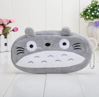 Wholesale Totoro Cosmetic Bag - cute my neighbor totoyo Grey Totoro Pencil Case Box Cosmetic Bag Pouch-large plush pencil box 20*10cm