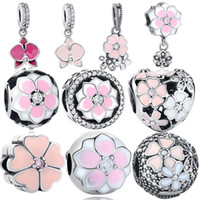 BELAWANG 10 Styles Flower Collection 925 Sterling Silver Charm Beads Heart Big Hole Beads Fit Pandora Bracelets de charme Bricolage Bijouterie