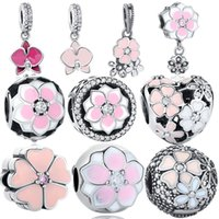 Wholesale Flower Collections - BELAWANG 10 Styles Flower Collection 925 Sterling Silver Charm Beads Heart Big Hole Beads Fit Pandora Charm Bracelets DIY Jewelry Making