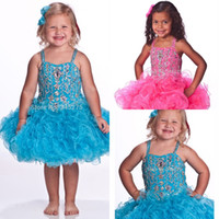 Wholesale pageant dresses children cupcake resale online - 2020 Pink Turquoise Glitz Toddle Cupcake Pageant Dresses Jeweled Stones Little Girls Baby Instant Short Child Pageant Dresses HY1284