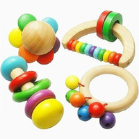 Wholesale Instrument Rattle - New Baby Wooden Bell Rattle Toy Handbell Musical Educational Instrument Toddlers Rattles Handle Developmental Toy