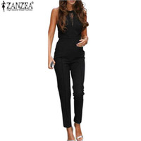 Wholesale Lace Rompers Xs - New ZANZEA 2017 Elegant Rompers Women Jumpsuit Fashion Bodysuit Sleeveless Lace Patchwork Romper Playsuits Long Pants Plus Size
