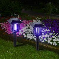 ingrosso bug di giardinaggio-LED Solar Zanzara Insetto Pest Killer Lamps Nero Outdoor Bug Zapper Solar Garden Luce Prato Solar Powered Lampada Dual Mode