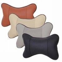 Wholesale Car Neck Pillows Leather Wholesale - Wholesale 200pcs Quality Car Seats Cushions Without Stuffing black beige gray brown Seats Neck Pillows Covers OEM Is Welcome
