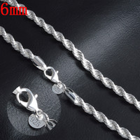 Wholesale Silver Chains For Jewellery - Extremely Jewelry For Man 6mm 20Inches 925 Sterling Silver Twisted Rope Chain Necklace Fashion Male Mens Jewellery Freeshipping