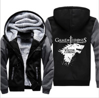 Wholesale Game Housing - Game of Thrones House of Stark Graphic Super Warm Thicken Fleece Zip Up Hoodie Men's Coat Black