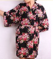 Wholesale Ladies Night Shirt New - Wholesale-New Floral Women Wedding Bridal Kimono Robe Flower Satin Silk Lady Spa Night Dress Free Shipping