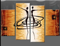 Wholesale Large African Art Wall Pictures - Large Oil Painting 4 Panel Hand Painted Painting Gift African Women Dance Canvas Art Wall Decor