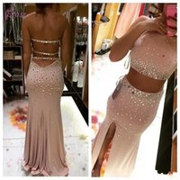 Wholesale Evening Crystal Rhinestones Dress - 2016 Two Pieces Prom Dresses Sexy Halter Rhinestone Crystal Beaded Mermaid Long Backless Front Side Split Evening Gowns Party Dresses