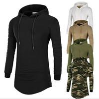 ingrosso sweatshirts camouflage dell'esercito-T-shirt a maniche lunghe con maniche mimetiche mimetiche da uomo T-shirt a maniche lunghe slim fit Pullover Sweathirt Army Green Khaki