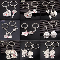 Wholesale Chinese Mans Dolls - New Chinese Wedding Couple Dolls Style Lovers Keychain - Silver 14 styles (Pair)