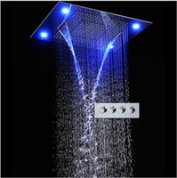 "Wholesale Large Ceiling Shower Heads - 31"" Large Rain Shower Set Waterfall LED Recessed Ceiling-mount 4 Function Shower Head,Remote Control,Classic Design 600x800mm"