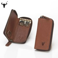 Wholesale Cowskin Leather Wallets - Wholesale-Top Grain Leather Key Wallets High-Quality Cowskin Man Key Bag Woman Key Case Casual Key Package Vintage Cowhide Key Holder
