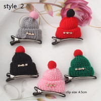 Wholesale Diamond Hair Clip Children - 6style available ! Christmas gift! Children Diamond Gift Cute Headwear Wool Hat Hair Clips Cap Hairpins Girls women Barrettes 30pcs