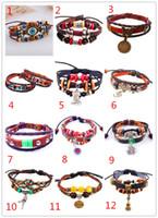 Wholesale Anchor Eyes - New 24pcs 50 Designs Antique Genuine Leather Bracelets Owl Eye Love Cross Bracelet Believe Key Anchors Bangles Bronze Charm Bracelets