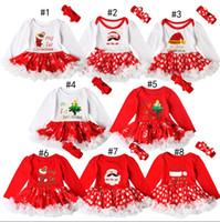 Wholesale Santa Headbands - Christmas Baby Rompers Autumn Xmas pattern Santa Claus Girls clothes Lace Long Sleeve Princess Dress Romper + Bow headbands 2pcs sets C1849