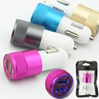 Wholesale Bags For Cars - With Retail bags High Quality Mini Aluminum Universal 12V 2.1A Dual Usb Car Charger Adapter Cable For Apple LG Mobile Cell Phones Tablet PC