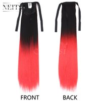 Wholesale Red Synthetic Ponytail - Neitsi 22inch 1pc Red# 105±5g Synthetic Hair Ponytails Straight Synthetic Clip in Ponytail Hair Synthetic Ponytails Highlight Extensios