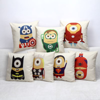 Wholesale Minion Top Wholesale - Top quality Minions Avengers pillow case Linen Square Design Throw Pillow Case Decorative Cushion Cover Captain America series Pillowcase