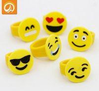 Emoji Smile Face Finger Ring Yellow Rubber Jelly Rings Boys Girls Cute Mini Fashion Cartoon Rings Дети Дешевые подарки Детские украшения Finger Toys