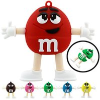 Wholesale Novelty Flash Drives - Novelty Silicon M&M Chocolate M Bean Cartoon Shape 1GB 2GB 4GB 8GB 16GB USB Pen Drive PVC USB Flash Drives Key Chain