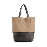 Sacs à main uggage DEUX TONS GRAND CABAS TOTE - Vertical PU Faux cuir Top Handle A4 Taille Shopper l'épaule de la femme Sac Ha ...